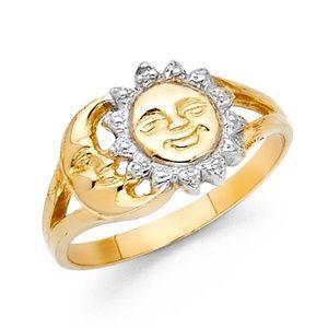 14k yellow white gold moon sun ring 4 5 6 7 8 9 10